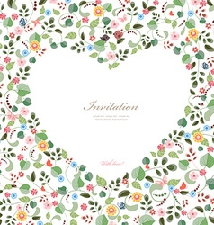 cute frame of heart with couple birds and flowers vector image vector image