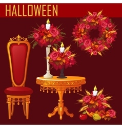 Holiday card for Halloween on red background vector image vector image