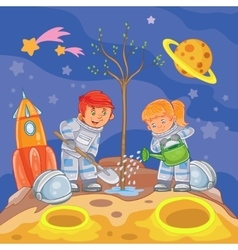 Little boy and girl astronauts planting a tree vector image vector image