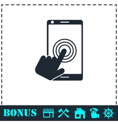 Touch screen icon flat vector image vector image