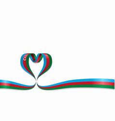 Azerbaijani flag heart-shaped ribbon vector