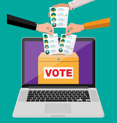 Ballot box document with candidates on laptop vector
