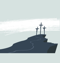 Banner on good friday with three crosses vector