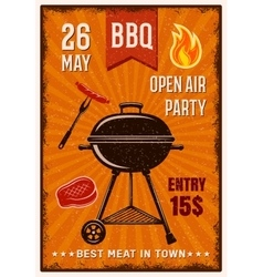 BBQ Open Air Party Vintage Poster vector
