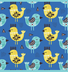 Birds in ethnic style flat seamless pattern vector