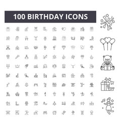 birthday line icons signs set outline vector image