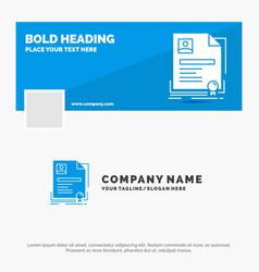 blue business logo template for contract badge vector image