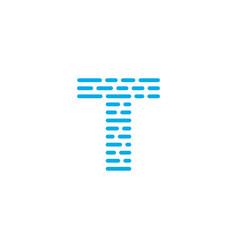 blue stripes logo letter t vector image