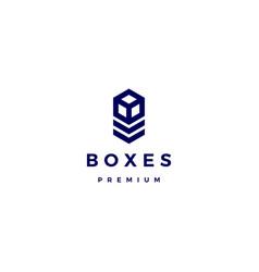 Box cube logo icon vector