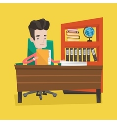 Businessman working with documents vector image