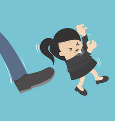 businesswoman was kicked off with a kick vector image