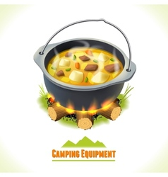 Camping symbol food pot vector image