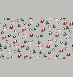 christmas seamless texture with santa claus vector image