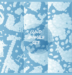 cloud animals seamless pattern cartoon vector image
