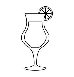 Cocktail glass cup alcoholic beverage outline vector