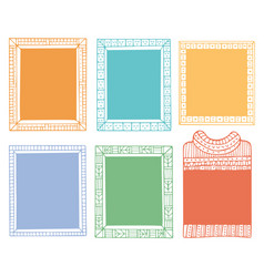 Collection hand-drawn winter knitted frames vector