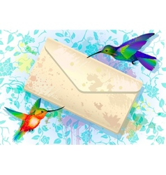Colorful hummingbirds with grunge envelope vector