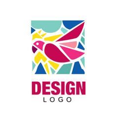 Creative logo design with pink tropical bird vector