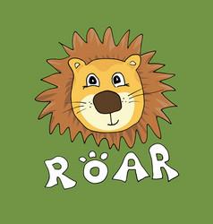 cute lion cartoon animal baand children print vector image