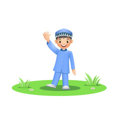 cute muslim boy stand and waving hand vector image