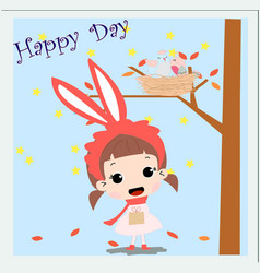 Cute rabbit baby girl in spring sumer theme card vector