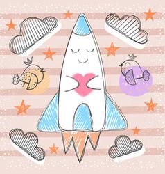 cute rocket - cartoon baby vector image