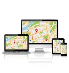 Digitl devices with GPS map vector image