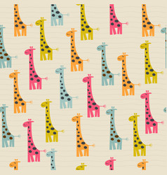 Doodle seamless pattern with giraffe vector