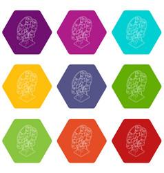 ferris wheel icons set 9 vector image