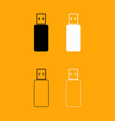 flash drive set black and white icon vector image