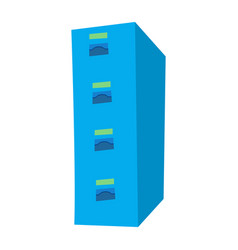 flat design blue tall cabinet vector image