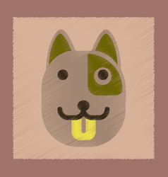 Flat shading style icon dog smiles vector