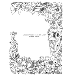 Floral frame zentangle vector