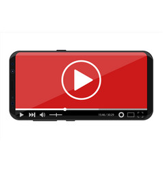 frameless smartphone with video player on screen vector image