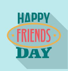 Friends day emblem logo flat style vector
