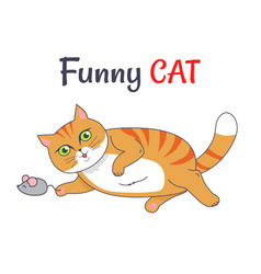 Funny cat playing with mouse vector
