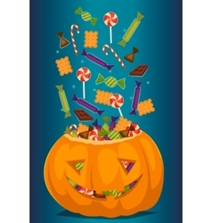 Halloween pumpkin full of candy treats vector