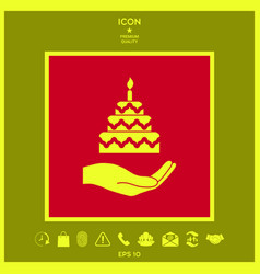 hand holding a cake icon vector image