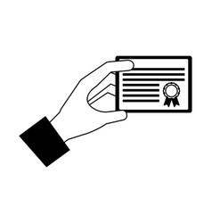 hand holds graduation school certificate vector image