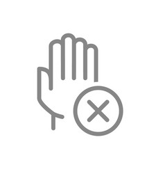 Hand with cross checkmark line icon hygiene vector