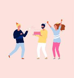 Happy friends celebrating party birthday cake vector