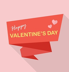 Happy Valentines Day on Flat ribbon vector image