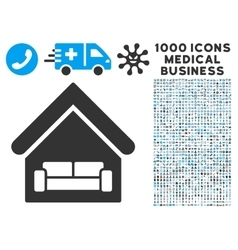 House Interrior Icon with 1000 Medical Business vector