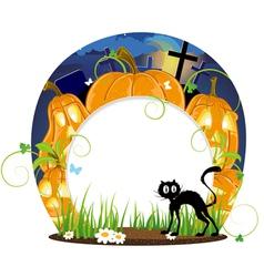 Jack o lanterns and black cat vector image