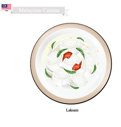 Laksam or Malaysian Wide Rice Noodle Soup vector image