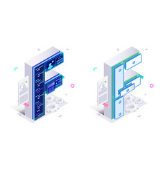 Letters f with social networks elements vector