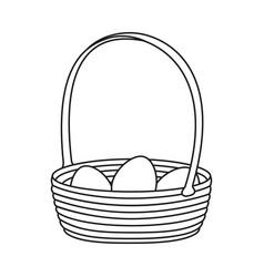 Line art black and white wicker basket eggs vector