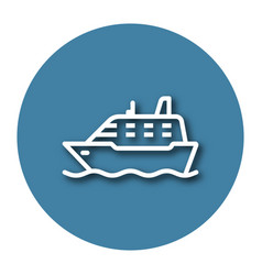 Line icon of ship with shadow eps 10 vector