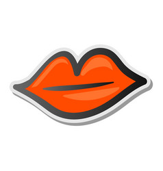 lips sticker icon emoji style vector image