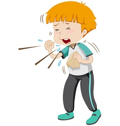 Little boy having flu vector